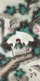(已售)凌雪 四尺竖幅 国画工笔花鸟画《松鹤延年》7-7