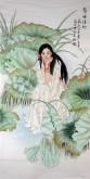 (已售)凌雪 四尺竖幅 国画工笔人物画《荷塘清趣》7-1