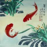 凌雪 四尺斗方 国画鲤鱼图《年年有余》7-29