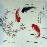 凌雪 四尺斗方 国画鲤鱼图《年年有余》7-27