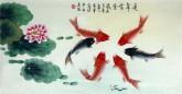 凌雪 三尺横幅 国画花鸟画《连年有余》鲤鱼荷花7-17