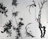 (已售)尤家利(湖北美协会员)国画花鸟画《梅兰竹菊四条屏》