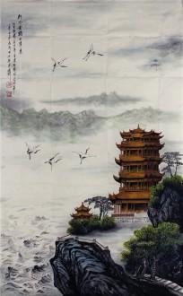 (已售)尤家利(湖北美协会员) 国画山水画《如今黄鹤又归来》113cm×69cm