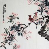 王海香(山东美协会员)四尺斗方 国画花鸟画《醉华阴》
