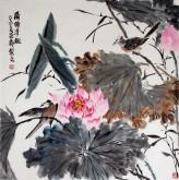 王海香(山东美协会员)四尺斗方 国画花鸟画《蒲塘清趣》