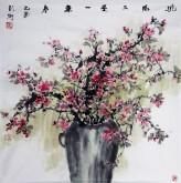 彭柯(中国美协)国画花鸟画 四尺斗方《桃红又是一年春》桃花