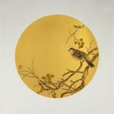 莫晓菲 国画写意花鸟画 小品斗方圆片 雀鸟