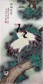 (已售)凌雪 三尺竖幅 国画花鸟画《松鹤延年》6-24