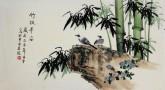 凌雪 三尺横幅 国画花鸟画《竹报平安》6-45