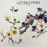 凌雪 四尺斗方 国画花鸟画《玉兰双雀》8-44
