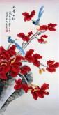 (已售)凌雪 三尺竖幅 国画花鸟画《秋叶正红》6-23