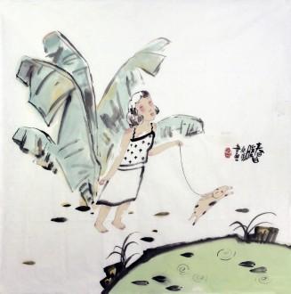 桑蕾(长春大学教授、中美协会员)国画人物画 四尺斗方《春日暖》