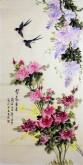 凌雪 四尺竖幅国画花鸟《紫气东来》紫藤月季花11-15