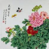 凌雪 四尺斗方 国画花鸟画《花开富贵》工笔牡丹2-3