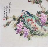 凌雪 四尺斗方 国画花鸟画《紫气东来》紫藤2-33