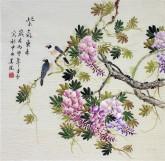 (已售)凌雪 四尺斗方 国画花鸟画《紫气东来》紫藤2-36
