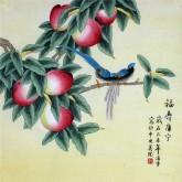 凌雪 四尺斗方 国画工笔花鸟画《福寿康宁》寿桃2-24