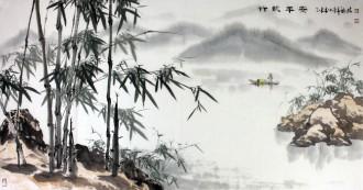 (已售)孙福林 国画花鸟画 四尺横幅《竹报平安》竹子3