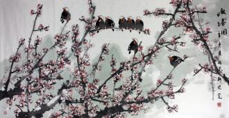 魏怀亮(中国美协会员、湖南美协副主席)四尺横幅 国画花鸟画《报春图》