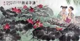 刁立(中美协会员)国画人物画 四尺横幅《连年有余》