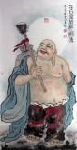(已售)刁立(中美协会员)国画人物 四尺竖幅《笑口常开独往来》