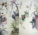 (已售)凌雪 国画写意花鸟画四条屏 16-5-6