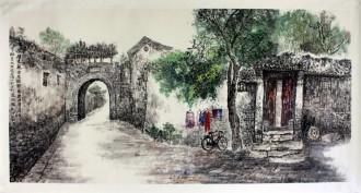 李尤(北京美协)国画山水风景画 四尺横幅《儒福里观音院过街楼》北京胡同
