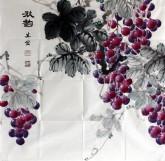 (已售)邵其宏(一级美术师)四尺斗方 国画葡萄《秋韵》