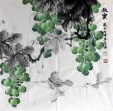 邵其宏(一级美术师)四尺斗方 国画葡萄《秋实》