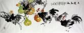 石云轩 国画写意花鸟画 小六尺横幅《其乐融融》葫芦公鸡