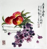 (预定)石云轩 国画写意花鸟画 三尺斗方《延年益寿》寿桃葡萄1-15