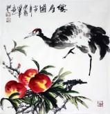 石云轩 国画写意花鸟画 三尺斗方《仙寿图》寿桃仙鹤1-2