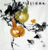 石云轩 国画写意花鸟画 三尺斗方《秋趣图》葫芦1-27