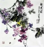 石云轩 国画写意花鸟画 三尺斗方《硕果图》葡萄1-9
