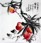 石云轩 国画写意花鸟画 三尺斗方《三千年结实》寿桃1-11