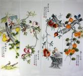 凌雪 国画写意花鸟画四条屏10-1