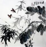 石云轩 国画写意花鸟画 四尺斗方《晨风》竹子2-8