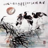 (已售)石云轩 国画写意花鸟画 四尺斗方《晨趣图》鹭鸶2-3