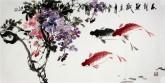 石云轩 国画写意花鸟画 三尺横幅《花阴鱼戏》紫藤 鲤鱼2-9