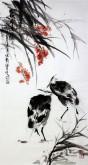 石云轩 国画写意花鸟画 三尺竖幅《秋塘清趣》芦苇白鹭2-4