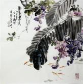 石云轩 国画写意花鸟画 四尺斗方《紫气东来》紫藤鱼2-9