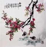 石云轩 国画写意花鸟画 四尺斗方《春酣》桃花小鸡2-7