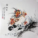 (已售)凌雪 四尺斗方 国画小猫《猫趣图》17-12花鸟画