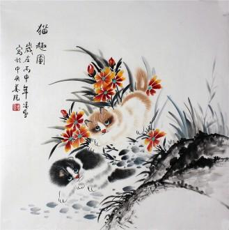凌雪 四尺斗方 国画小猫《猫趣图》17-12花鸟画