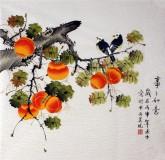 凌雪 四尺斗方 国画花鸟画《事事如意》柿子17-19