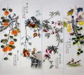 (已售)凌雪 国画写意花鸟画 四条屏 果实四条屏17-5