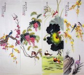 (已售)凌雪 国画写意花鸟画四条屏《春夏秋冬》17-3