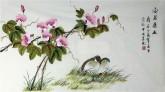 凌雪 三尺横幅 国画花鸟《安居乐业》牵牛花鹌鹑17-23