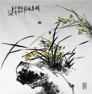 石云轩 国画写意花鸟画 四尺斗方《醉清风》兰花5-4