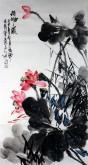 石云轩 国画写意花鸟画 三尺竖幅《荷塘之晨》荷花5-4